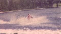 Man Does Water Ski Trick Stunt 1950s Vintage Film Home Movie 301 Stock Footage