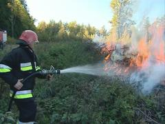 Uniformed firefighter with the hose in the hands fighting fire. Stock Footage