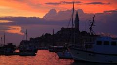 Rovinj on sunset, Croatia Stock Footage