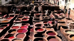 Chouwara traditional leather tannery in Old Fez, Morocco, Africa Stock Footage