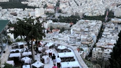 Lykavittos Hill overlooking a Restaurant,  Athens, Greece, Europe Stock Footage