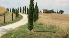 Fields and hills in Italian countryside, Tuscany Stock Footage