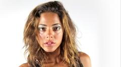 face closeup beautiful girl dance disco - stock footage