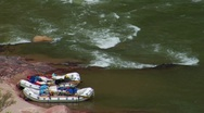 Two Rafts Await Their Riders on the Colorado River Stock Footage