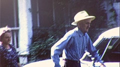 OLD AGE Man with Bad Back GERIATRIC PAIN 1960s Vintage Film Home Movie 309a - stock footage