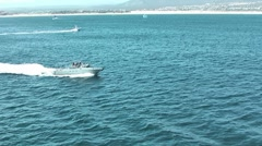 Military boat on the sea Stock Footage