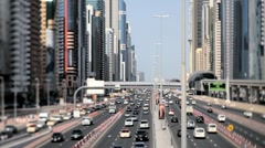 United Arab Emirates, Dubai, Sheikh Zayed Rd - selective point of focus - stock footage