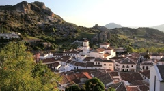 Spring in the beautiful Andalucia countryside and the town of Grazalema, Spain Stock Footage