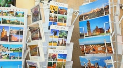 Souvenir shop and bookstore selling cards and calendars in Italy Stock Footage