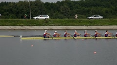 Women's eights final finish in rowing - stock footage