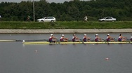 Stock Video Footage of Women's eights final finish in rowing
