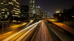 Downtown Los Angeles Traffic Night - stock footage