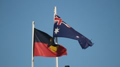 Australian & Aboriginal Flags flying together 60FPS Stock Footage