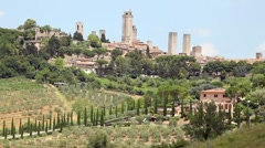 San Gimignano with its towers, Tuscany, Italy - stock footage