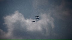 Three Military Planes Formation WWII Stock Footage