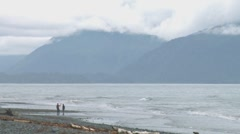 Couple and Dog on Cloudy Day Beach 1 Stock Footage