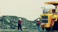 Stock Video Footage Mining Dump Truck loading excavator heavi track Stock Footage