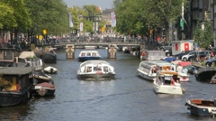 Boats in Amsterdam Stock Footage