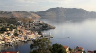 Symi town and Harbour, Aegean Sea, Greece, Europe Stock Footage