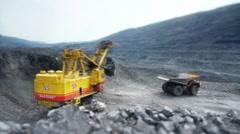 Stock Video Footage Mining Dump Truck loading excavator heavy track - stock footage