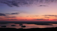 Sun rise north east Cadillac Mountain, Acadia Nation Park Stock Footage