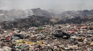 Burning garbage dump, pollution Stock Footage