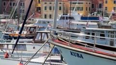Boats and yachts in Rovinj Harbor, Croatia Stock Footage
