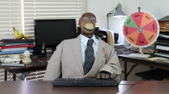 Monkey puppet smacks keyboard in frustration. Stock Footage