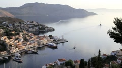 Symi Town Houses by the beautiful harbour, Rhodes, Greece Stock Footage
