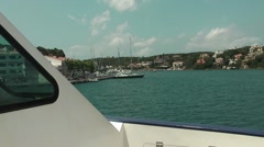 View of Mahon skyline shot from ferry Stock Footage