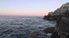 Big rocks ocean Maine 15 Stock Footage