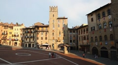 Italian square, Piazza Grande in Arezzo, Tuscany, Italy Stock Footage