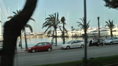 Port of Palma de Majorca shot from bus Stock Footage