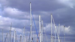 Verticals of boat masts Stock Footage
