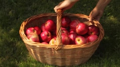 Apples spilling from a basket Stock Footage