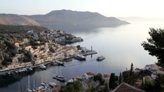 Symi Town Houses by the beautiful harbour, Symi nr Rhodes, Greece Stock Footage