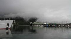 Boat marina fog Stock Footage