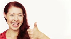 Stock Video Footage of happy girl holding her thumbs up