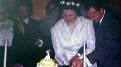 Happy Bride and Groom Cutting Wedding Day Cake 1950s Vintage Film Home Movie 338 Stock Footage