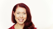 Smiling happy redhead girl Stock Footage
