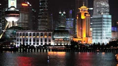 Pudong skyline (view across Huangpu River from the Bund), Shanghai, China - stock footage