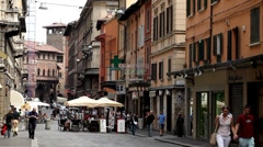Bologna Street Italian Historic City European Old Street Italy Crowd People Walk Stock Footage