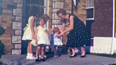 Girls Play on Porch Mom and Baby Suburbia 1960s Vintage Film  Home Movie 342 - stock footage