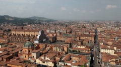 HD Aerial View of Bologna, Italy, Piazza Maggiore, Basilica di San Petronio Stock Footage