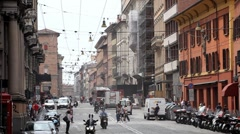 Bologna Busy Street Italian Historic City European Old Town Italy Car Traffic - stock footage