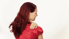 Rear view of woman with back pain Stock Footage