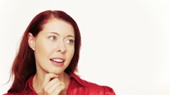 Redhead woman thinking Stock Footage