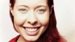 Closeup of happy redhead Stock Footage