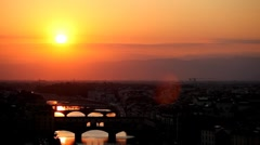 Aerial View of Florence Sunset, Italy, The Ponte Vecchio (Old Bridge), Arno Stock Footage