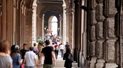 Bologna Street, Italian Historic City, European Old Street, Italy Stock Footage